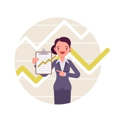 Businesswoman with clipboard Positive charts and vector image