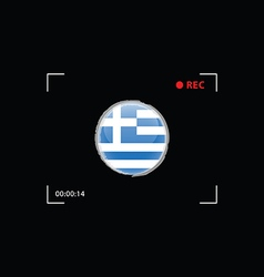 Greek flag in focus on black background vector
