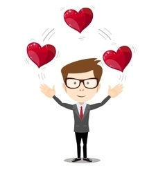 Business man juggling hearts vector