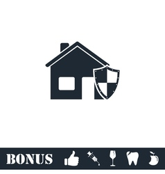 House insurance icon flat vector image