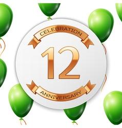 Golden number twelve years anniversary celebration vector