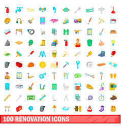 100 renovation icons set cartoon style vector