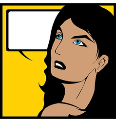 Comic speech bubble woman vector
