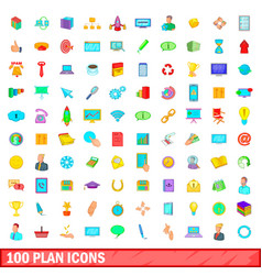 100 plan icons set cartoon style vector image