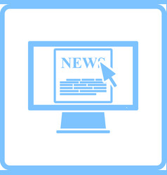 Monitor with news icon vector