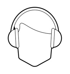 Faceless man wearing headphones icon image vector