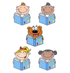 Kids and bear reading a book- collection vector