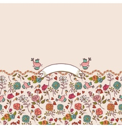 Seamless background with roses and birds vector