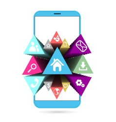 Smart phone in blue with icons vector