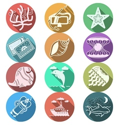 Underwater flat color icons vector