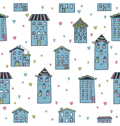 Cute seamless background with houses Home sweet vector image