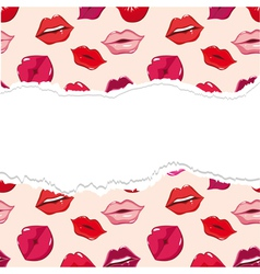red torn seamless lips wallpaper vector image