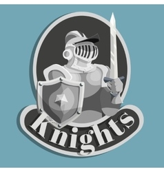 Knight metal emblem vector