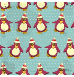 Seamless christmas penguin pattern vector
