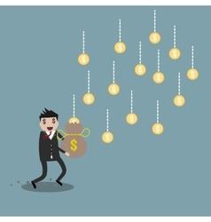 Cartoon businessman earning money vector