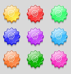 Target icon sign symbol on nine wavy colourful vector