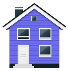 Blue two-story wooden suburban townhouse vector image