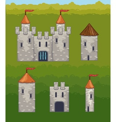 Castles and fortresses icons vector
