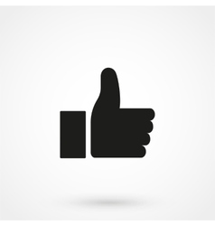 Thumbs up icon black on white background vector image