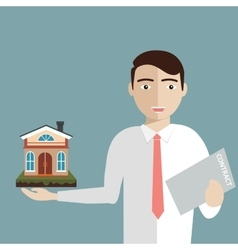 Realtor holds a house and contract in hand vector