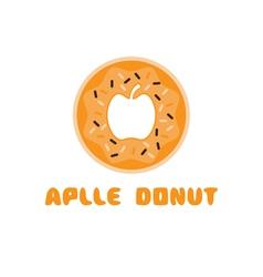 Apple donut negative space concept vector