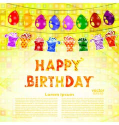 Birthday greeting with a garland of balloons vector image vector image