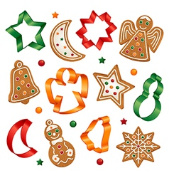 Christmas cookies and cookie cutters vector