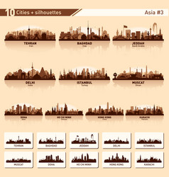 City skyline set 10 silhouettes of asia 3 vector