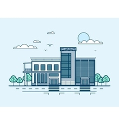 City street with administrative building modern vector