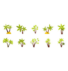 double palm tree icon set flat style vector image