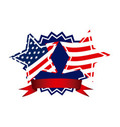 emblem and stars independence day icon vector image