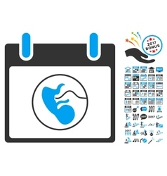 Embryo calendar day flat icon with bonus vector