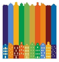 European cityscape Skyline Silhouette of vector image