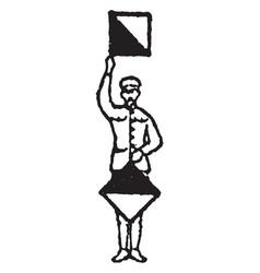 Flag signal for letter d or number 4 vintage vector