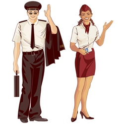 Flight attendant and pilot vector