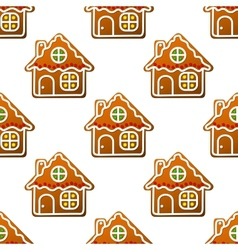 Gingerbread houses and homes seamless pattern vector