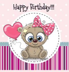greeting card cute cartoon bear girl vector image vector image