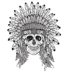 Hand drawn of indian headdress with human sk vector