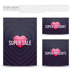Happy Valentines Day design elements vector image vector image