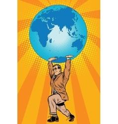 International business boss keeps planet Earth vector image vector image