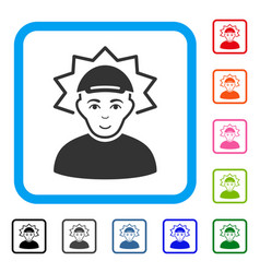 Inventor framed cheerful icon vector