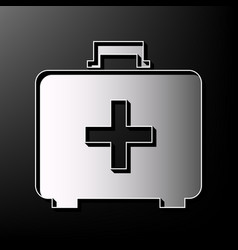 Medical first aid box sign gray 3d vector