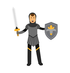 Medieval amed knight character standing with vector
