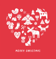 merry christmas heart-shaped background vector image vector image