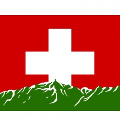 mountains with flag of Switzerland vector image vector image