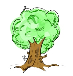 Old tree with hiding animals cartoon icon vector image vector image