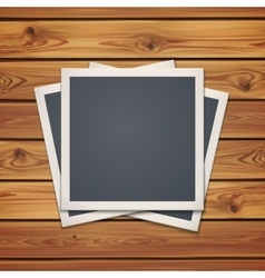 Realistic vintage photo frames wooden boards vector
