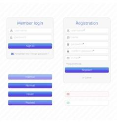 Registration form and login vector