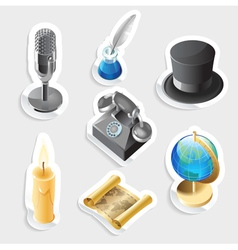 Retro sticker icon set vector image
