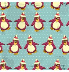 seamless christmas penguin pattern vector image